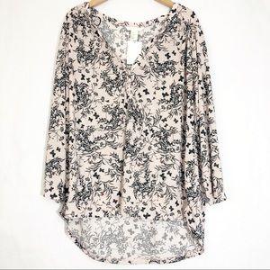 NWT H&M Blush Floral 3/4 Sleeve Lightweight Blouse